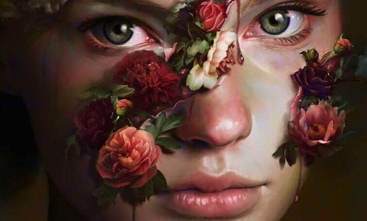 Frau mit Blumen im Gesicht