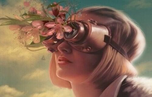 Frau mit Blumenmaske