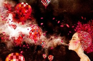 Frau bläst Luft in eine Gruppe Heißluftballons