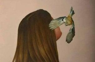 Wenn ich Angst habe - Frau mit Vogel