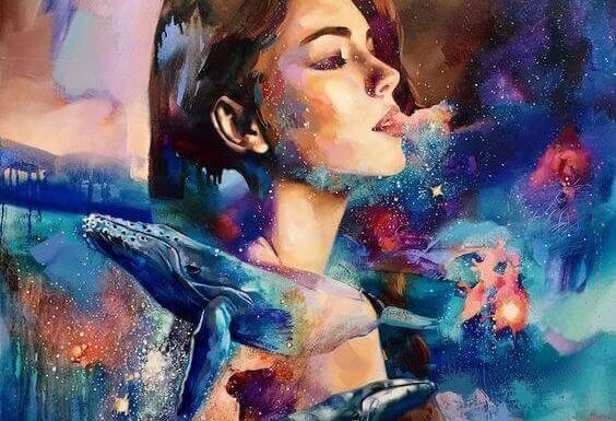 Frau mit Walen und Sternen