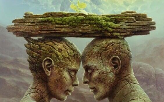 Paar mit Ast, auf dem eine Blume wächst, auf dem Kopf