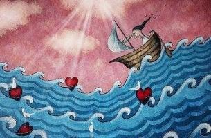 Mädchen auf einem Boot im Meer der Liebe