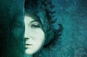 Gesichter des Neids - Hälfte des Gesichts einer Frau
