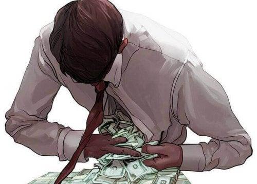 Revolutionäre Bücher berichten über Habgier - Ein Mann versteckt Geld im Hemd.