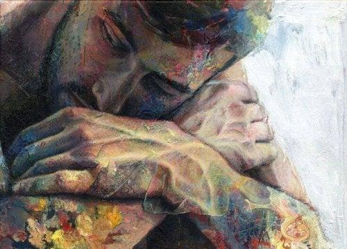 Trauriger Mann mit bunten Flecken auf der Haut