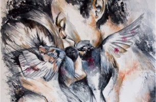 Exzessive Liebe - sich küssendes Paar und schnäbelnde Vögel