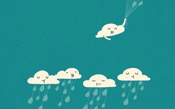 Eine positive Einstellung bekommen - lachende Wolke, die sich von trist schauenden Wolken entfernt
