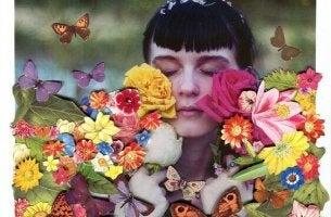 Magische Momente - Mädchen mit Blumen und Schmetterlingen