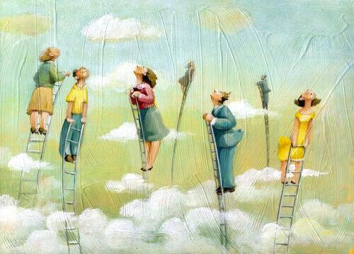 Menschen auf Leitern strecken sich dem Himmel entgegen.