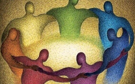 Menschen bilden einen Kreis