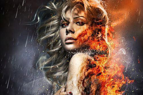 Frau, deren Körper brennt