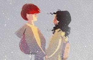 Was wir jemandem bedeuten - Paar im Schneetreiben