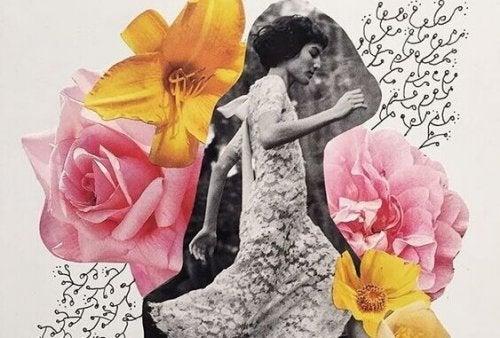 Foto einer Frau zwischen Blumen