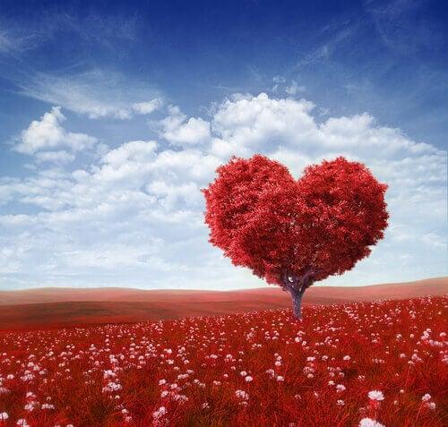 Roter Baum in Herzform