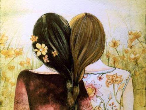 Zwei Schwestern umgeben von Blumen