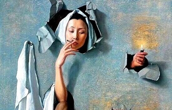 Warum rauchen Menschen? - Rauchende Frau durchbricht Plakat