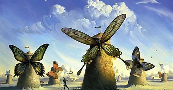 Windmühlen, deren Flügel von Schmetterlingen gebildet werden
