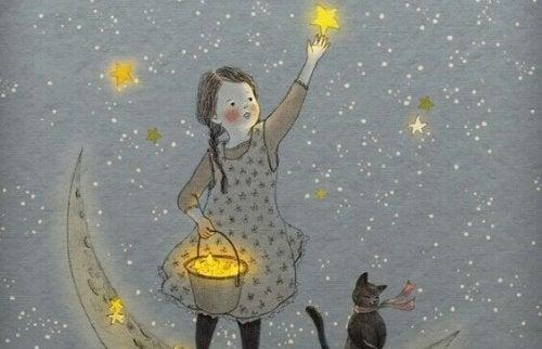 Sterne sammelndes Mädchen
