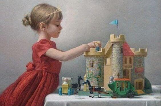 Kein gutes Mädchen? - Mädchen spielt mit einem Schloss und Rittern