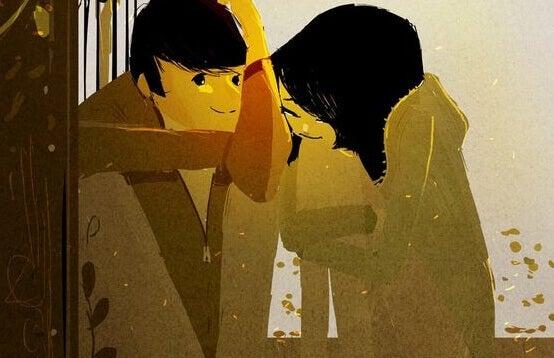 Paar unterhält sich