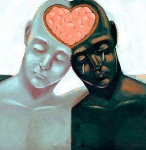 Empathie zeigen - Zwei Personen legen die Köpfe aneinander