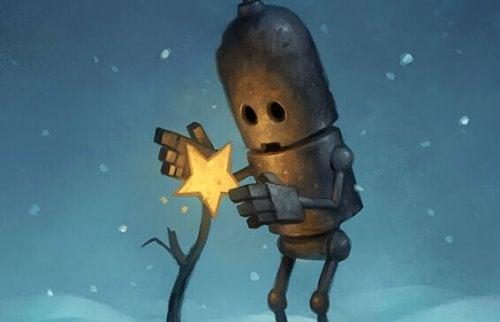 Roboter, der einen Stern auf einen abgestorbenen Baum setzt