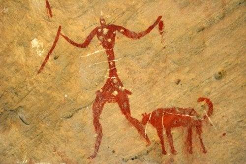Höhlenmalerei von Mensch und Hund