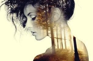 Minuten der Ruhe wirken Wunder - Frau, in deren Inneren stiller Wald zu sehen ist