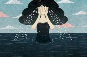 Fragen und Antworten zum Umgang mit Trauer - Trauernde Frau in einem Meer aus Tränen