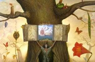 Bücher über emotionale Intelligenz - Buch in einem Baum öffnet sich zur Weisheit