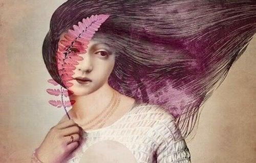 Frau mit lilanem Haar und Zweig mit roten Blättern