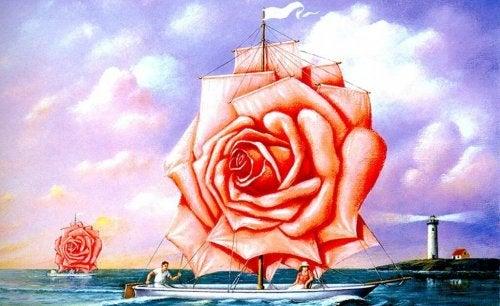 Boot, dessen Segel eine Rose ist
