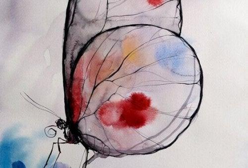 Schmetterling mit Farbklecksen