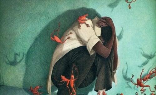 Mann schützt sich vor Fröschen