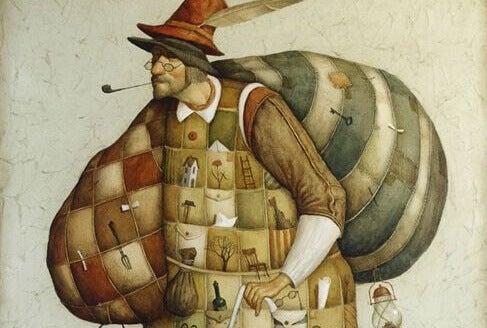 Mann mit viel Gepäck