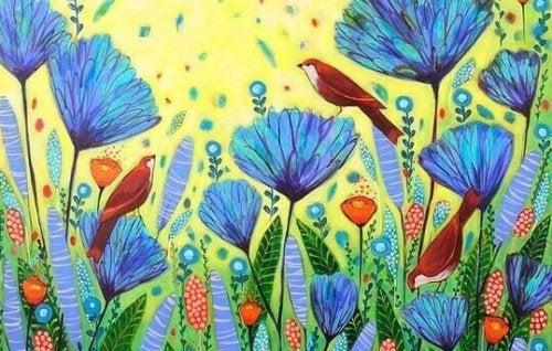 Blumenwiese mit Vögeln