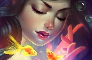 Schließe deine Augen - Mädchen mit Goldfischen träumt
