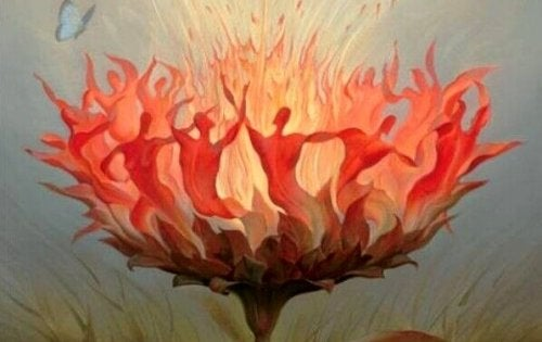 Blume aus Feuer, in der Menschen tanzen