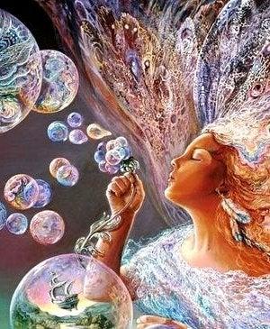 Emotionale Reife - Frau mit bunten Seifenblasen