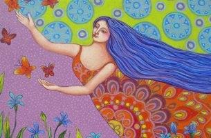 Wahrer Reichtum - Frau folgt Schmetterlingen