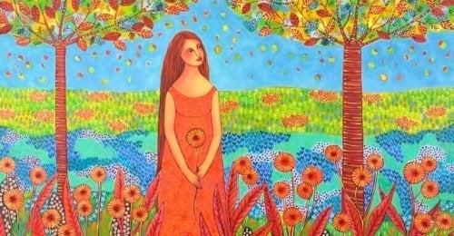 Frau im Blumenfeld