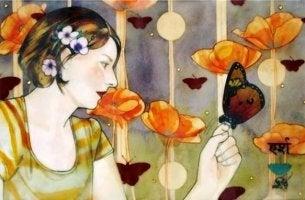 Raum für das Unerwartete - Frau mit Schmetterling
