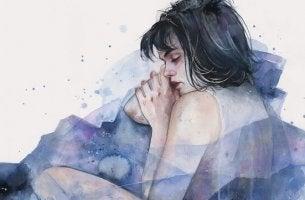 Unbegründete Angst - Frau schläft mit Sorgen