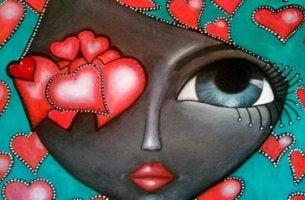 Sich seinen Gefühlen stellen - Herzen im Gesicht einer Frau