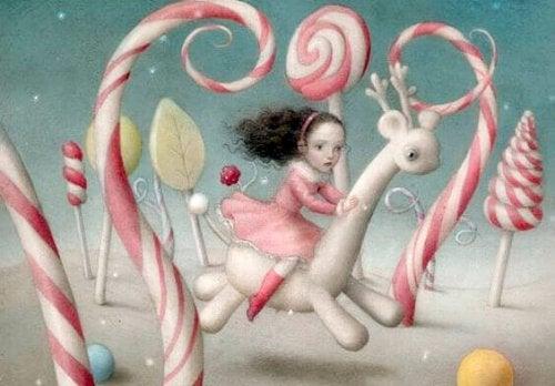 Mädchen in Fantasiewelt zwischen Zuckerstangen