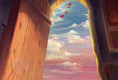 Offene Tür und Blick in den Himmel