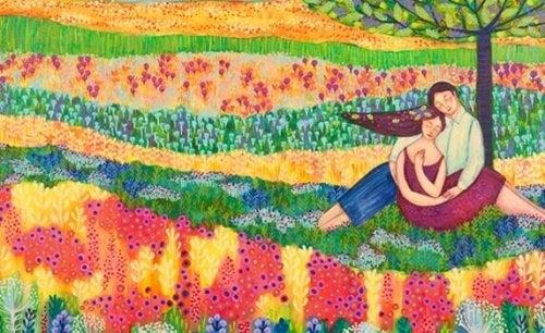 Paar auf Blumenwiese
