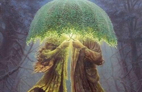 Waldkreatur unter grünem Schirm