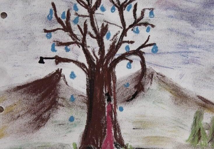 Gezeichneter Baum mit Blättern